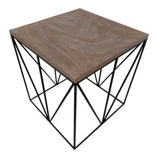 Theodore Alexander Hammered Iron, Geometric Square Side Table For Sale