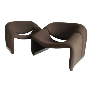 Pierre Paulin Brown Wool Groovy Chairs - a Pair