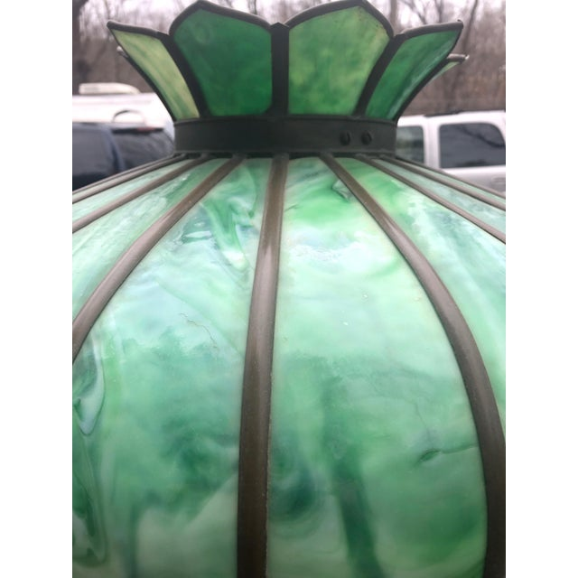 Vintage Green Leaded Glass and Brass Large Table Lamp For Sale In Philadelphia - Image 6 of 11
