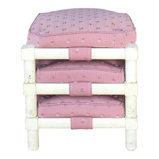 Vintage Pink Upholstered White Stacking Ottomans - Set of 3 For Sale
