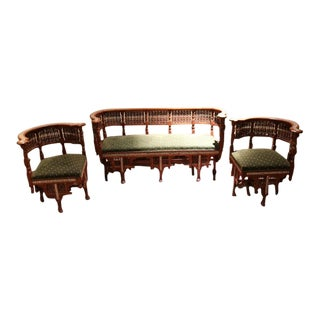 Moroccan Bench and Matching Corner Chairs - 3 Pc. Set