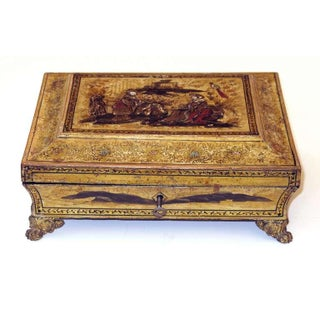 An Elegant English Regency Yellow-Lacquered Chinoiserie Jewelry Box Preview
