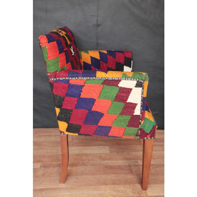 Kilim Upholstered Armchair For Sale In Baltimore - Image 6 of 7