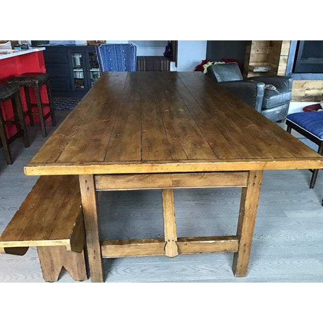 Nautical Country Pottery Barn Dining Table with Bench For Sale - Image 3 of 11