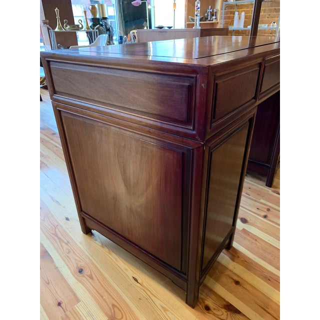 20th Century Campaign Solid Teak Partner Desk With Brass Hardware For Sale - Image 6 of 13