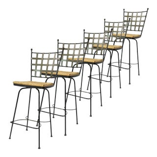 Wrought Iron Barstools W Rush Swivel Seats Manner of Salterini Mario Papperzini- Priced Per Chair- 5 Available For Sale