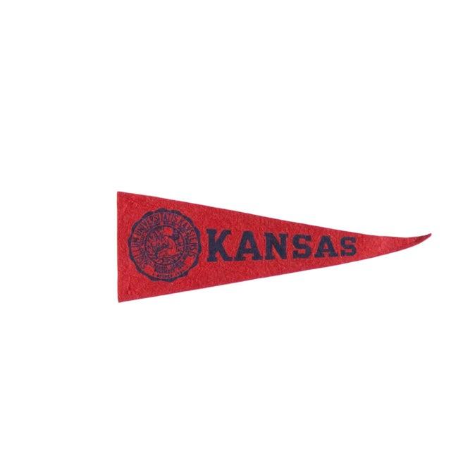 American Mini Vintage University of Kansas Felt Flag Pennant For Sale - Image 3 of 3