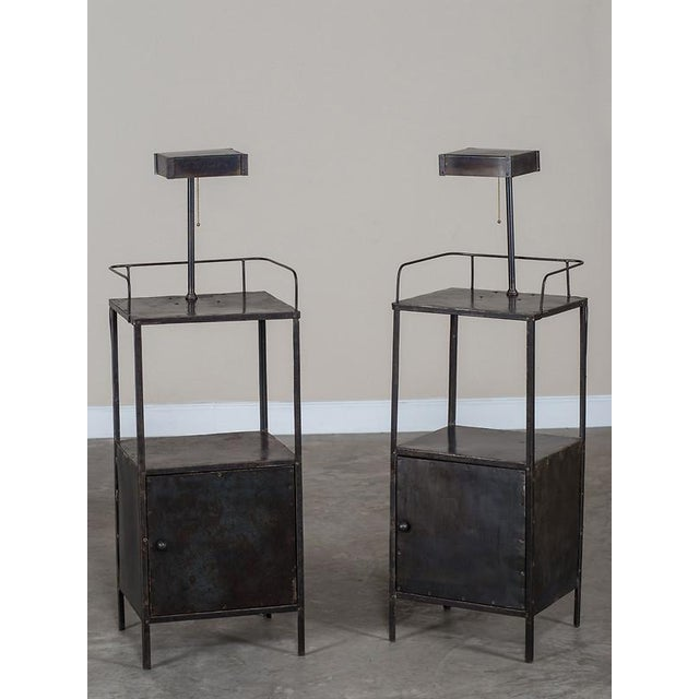 Vintage Industrial French Metal Cabinet with Light circa 1940 - Image 9 of 11