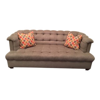 Grey Tufted Nailhead Sofa With Throw Pillows