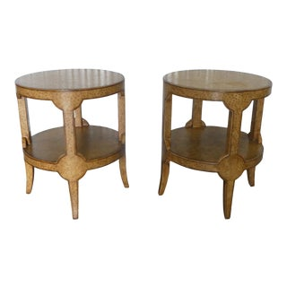 Maitland Smith Embossed Ostrich Leather Round Side Tables - a Pair For Sale