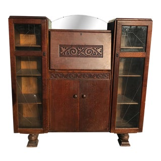 Antique English Art Deco Tiger Oak Side by Side Bookcase Drop Front Secretary Desk For Sale