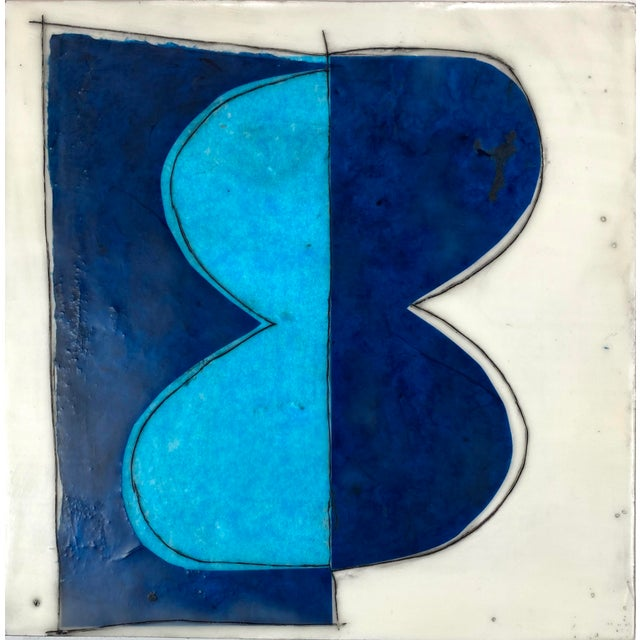 """""""Elsewhere"""" Original Encaustic Collage Installation by Gina Cochran - Blue and Teal - 16 Panels For Sale - Image 11 of 13"""
