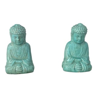 Ceramic Teal Buddha Figurines - a Pair For Sale