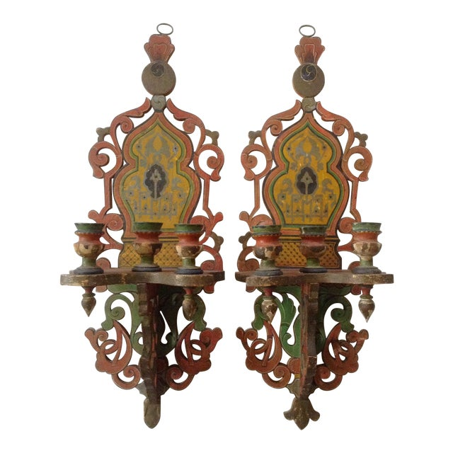 French/Persian Candle Sconces - a Pair - Image 1 of 4