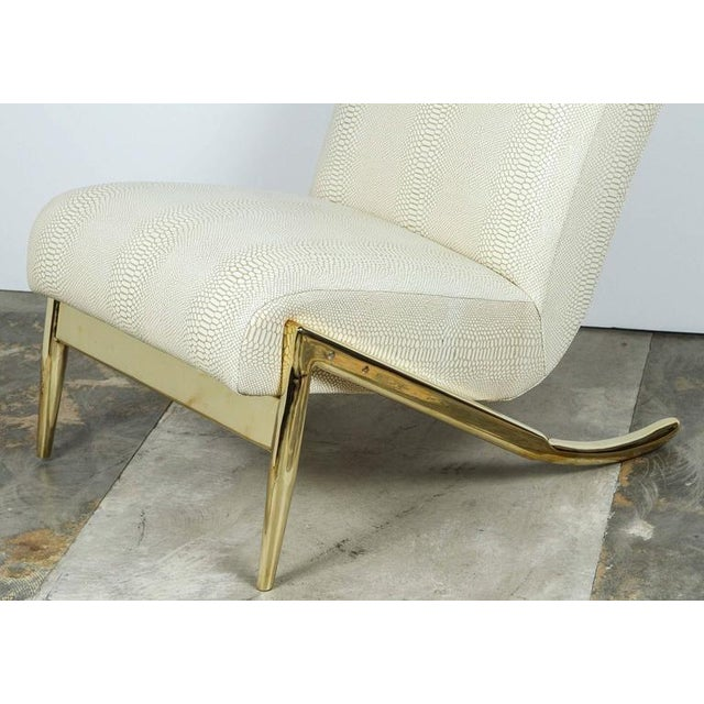 Paul Marra Slipper Chair in Brass with Faux Python - Image 9 of 10