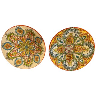 Hand Painted Ceramic Serving or Decorative Plates - a Pair For Sale