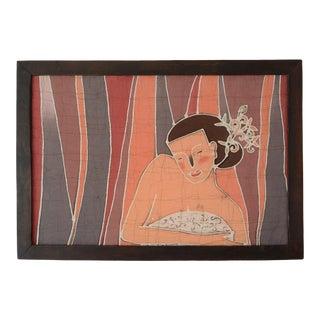 Vintage Minimalist Bathing Nude Female Batik Painting For Sale