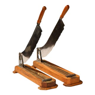 19th Century French Wood & Metal Bread Cutters - a Pair For Sale