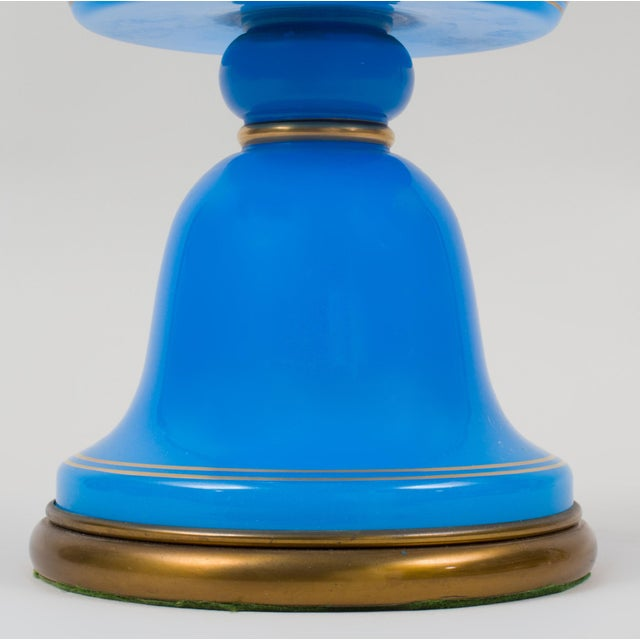 French Blue Opaline Glass Table Lamp For Sale - Image 4 of 9