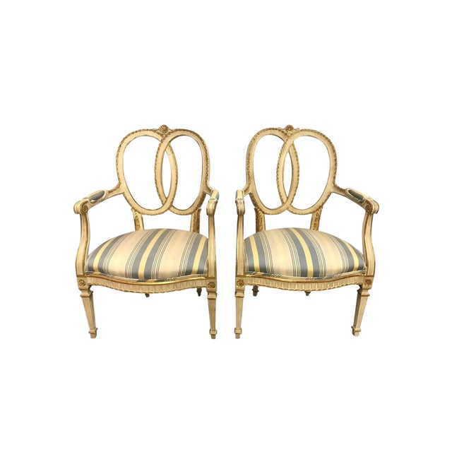 Pair of Antique French Cream Painted Giltwood Armchairs For Sale
