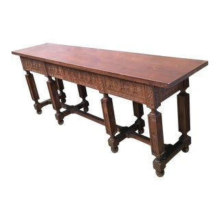 19th Spanish Low Bench Carved Table With Two Drawers For Sale