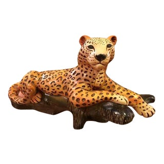 Large Hollywood Regency Plaster Cheetah Sculpture For Sale