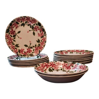 Keller & Guerin Pervenche Pattern China of Luneville, France - 17 Piece Set For Sale