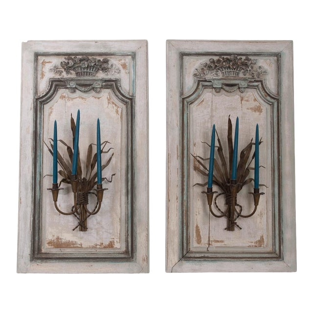 Pair of French Louis XV Hand-Painted and Carved Oak Boiserie Panels For Sale