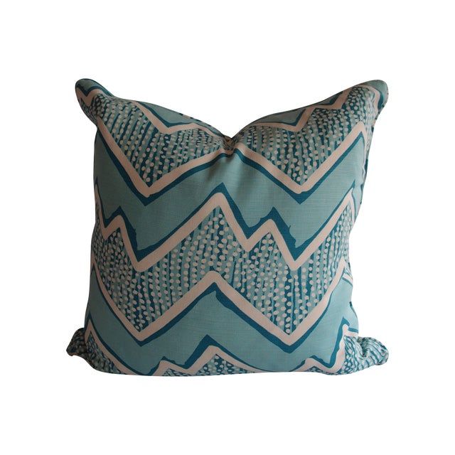 Quadrille Fabric Turquoise Zig Zag Pillow - Image 1 of 3