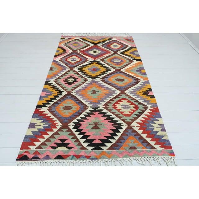 Textile Vintage Turkish Kilim Rug For Sale - Image 7 of 13