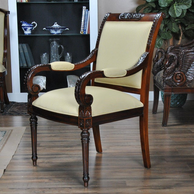 Wood Carved Empire Upholstered Arm Chair - a Pair For Sale - Image 7 of 13