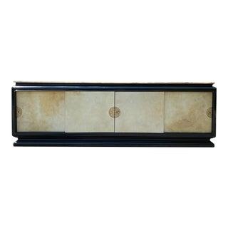 Hollywood Regency Art Deco Black Lacquer Parchment Credenza For Sale