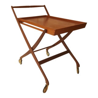 Mid-Century Danish Teak Folding Bar Cart For Sale