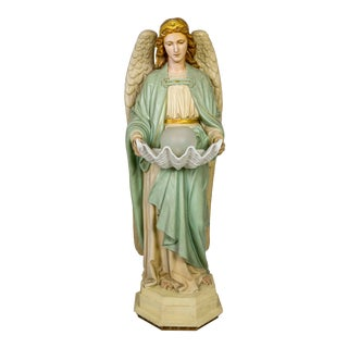 Life-Size Angel Statue Holding Porcelain Clam Shell Bowl with Light For Sale