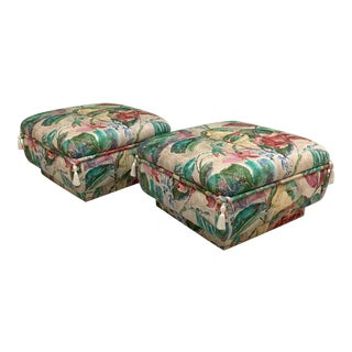 Palm Beach Style Pair of Floral Ottomans For Sale