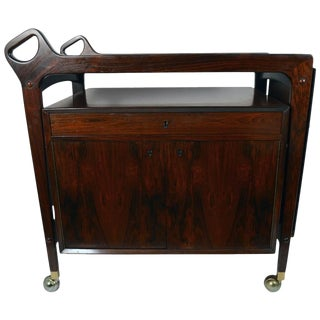 Gorgeous Danish Modern Rosewood Cart For Sale