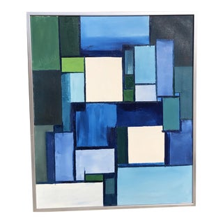 Late 20th Century Geometric Abstract Signed Painting For Sale