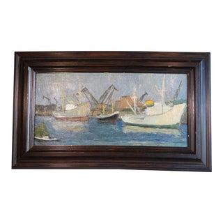 Mid 20th Century Harbor Scene Oil Painting by Marie Cofalka, Framed For Sale