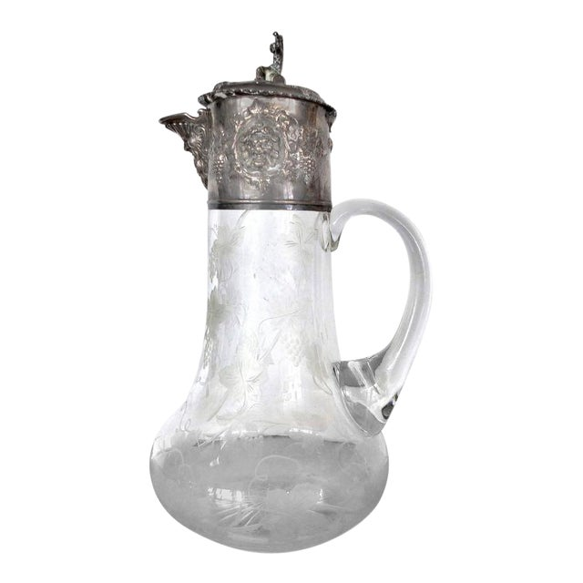 19th Century Sterling Cut and Etched Claret Jug For Sale