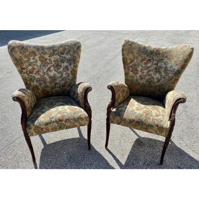 Wood Hollywood Regency Wingback Grosfeld Lounge Arm Chairs For Sale - Image 7 of 7