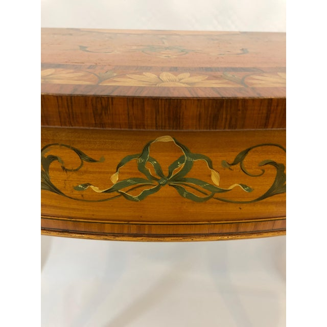 1970s Traditional Hand Painted Demilune Console Table For Sale In Philadelphia - Image 6 of 13