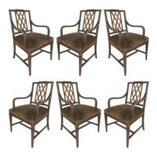Mahogany Parcel Gilt Set Dining Chairs W/Slat Backs & Leopard Print Velvet-A Set of 6 For Sale