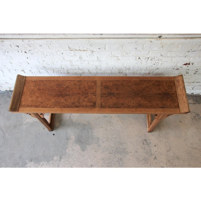 Baker Furniture Company Beautiful Burled Altar Table by Baker For Sale - Image 4 of 11