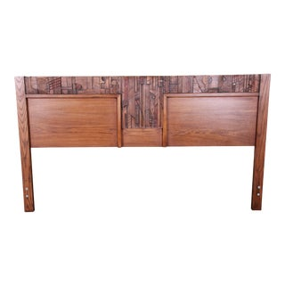 Paul Evans Style Lane Pueblo Brutalist Oak King Size Headboard, 1970s For Sale