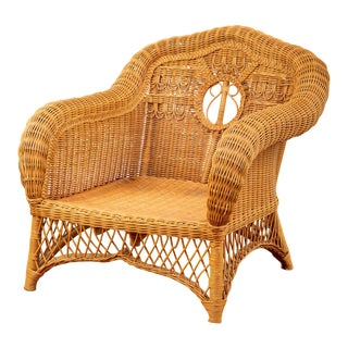 1990s Vintage Ralph Lauren Boho Chic Wicker Lounge Chair For Sale