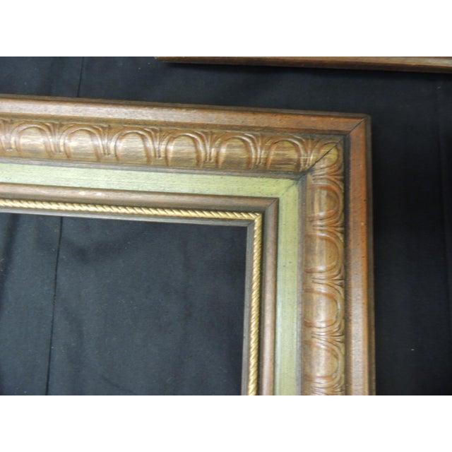 1980s Set of (3) Vintage Green Painted Wood Art Frames For Sale - Image 5 of 6