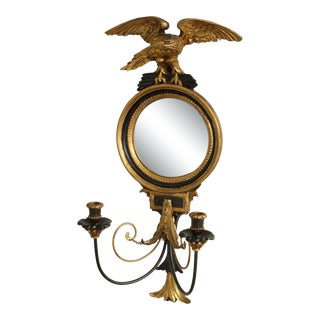 Friedman Brothers Vintage Black and Gold Convex Bulls eye Mirror, Sconce with Eagle For Sale