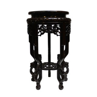Chinese Brown Wood Round Tall Table Top Stand Display Easel
