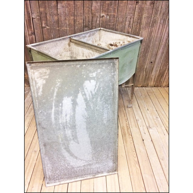 Vintage Speed Queen Green Country Galvanized Double Basin Wash Tub