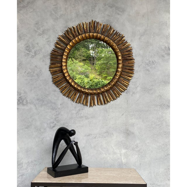 Spanish Giltwood Sunburst Mirror For Sale In New York - Image 6 of 12